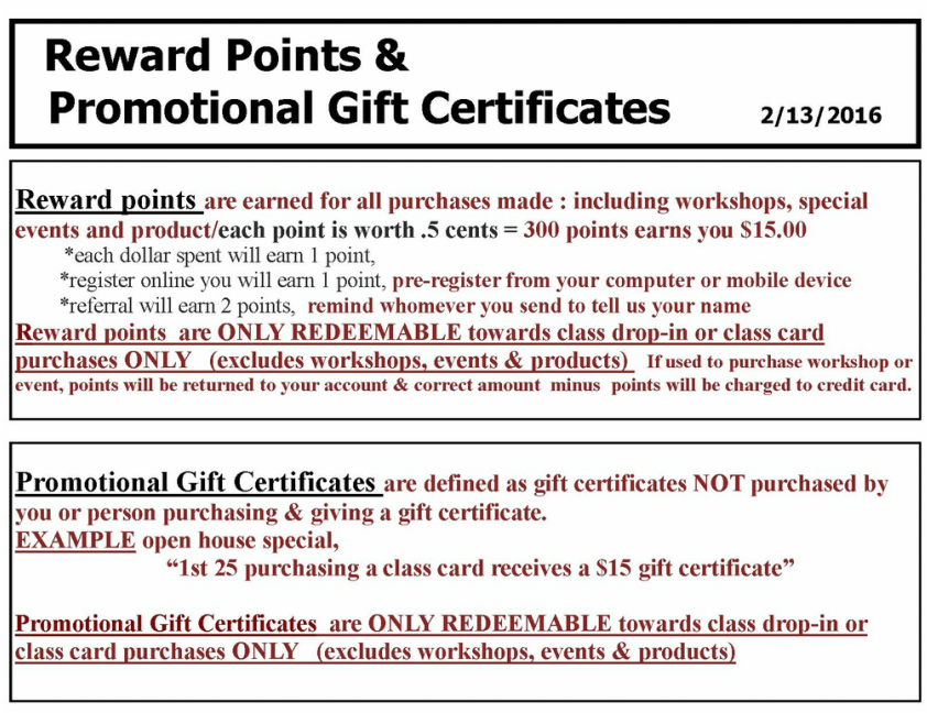 gift certificate policy